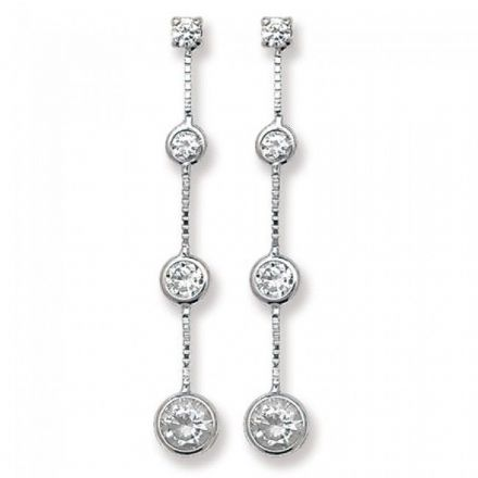 Just Gold Earrings -9Ct Drop Earrings Cz, ES338
